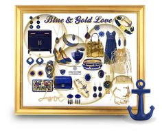 """for the love of Blue & Gold"" by caroline-buster-brown on Polyvore featuring Effy Jewelry, self-portrait, Guerlain, Zana Bayne, Lanvin, Giuseppe Zanotti, Charlotte Olympia, Lauren K, Andrea Fohrman and Karl Lagerfeld"
