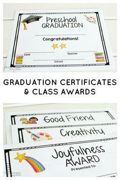Graduation Certificates and Class Awards for Preschool & Kindergarten