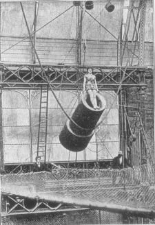 This photo of Zazel, the beautiful human cannonball, was taken in the Royal Aquarium, London, England, in 1877. This is without a doubt the earliest photo in existence of a cannon act.