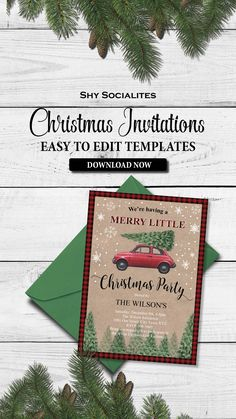 Editable Christmas Party Invitations Easy To Edit In Free Adobe