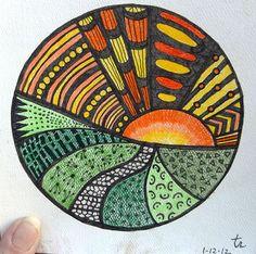 "Zentangle #01. (Loose) 6""x6"" watercolor paper, pencil, sharpie fine point markers."