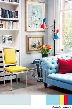 Цветовая гамма: белый, голубой, желтый, малиновый, синий