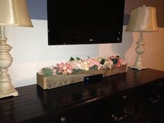 """I used weathered Pallet wood to create the """"distressed Barn wood"""" look, then customized it to hide the cable box. Pallet Wood, Wood Pallets, Barn Wood, Living Room Redo, Home Living Room, Hide Cable Box, Pallet Tv Stands, Tv Stand Console, Family Room Fireplace"""
