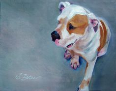"Animal Dog Painting, Pitbull, 11"" x 14"", oil painting on canvas by SuzieBakerArt @ etsy"