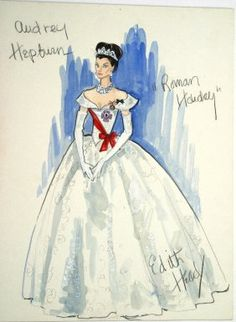"""Edith Head costume sketch for Audrey Hepburn in """"Roman Holiday"""" (1953)"""
