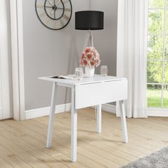 Buy New Haven White Drop Leaf Space Saving Dining Table from - the UK's leading online furniture and bed store White Dining Table, Drop Leaf Dining Table, Space Saving Dining Table, White Dining Room, Dining Table, Small Dining Table, White Dining Chairs, White Dining Room Furniture, White Dining Set