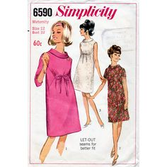 1960s Mod Maternity Dress Vintage Sewing Pattern by BessieAndMaive, $9.00