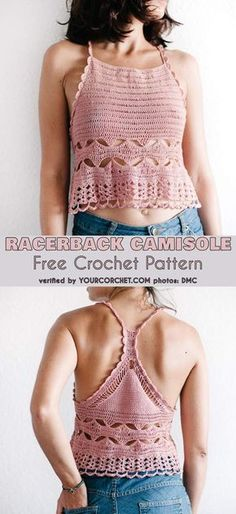 The Best Crochet Halter Tops [Crochet Patterns, Free Patterns & Video Tutorials] Racerback Camisole Free Crochet Pattern, Halter or Crop Top Idea T-shirt Au Crochet, Beau Crochet, Bikini Crochet, Mode Crochet, Crochet Halter Tops, Crochet Shirt, Crochet Woman, Diy Crochet Crop Top, Crochet Stitches