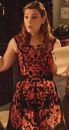 AnnaBeth's black and orange damask print dress on Hart of Dixie.  Outfit Details: http://wornontv.net/32277/ #HartofDixie
