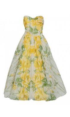 3ef15f6cc0a346 1950's Emma Domb Yellow Roses Floral Print Chiffon Strapless Full Skirt  Dress