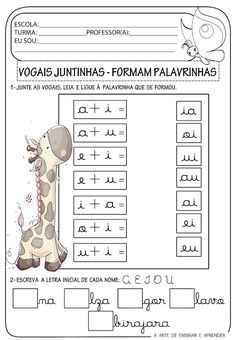 A Arte de Ensinar e Aprender: Atividade pronta - Encontros vocálicos Im Jealous, Preschool Activities, Professor, Back To School, Kindergarten, Homeschool, Classroom, Teaching, Writing