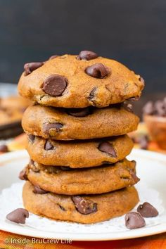 Pumpkin Chocolate Chip Cookies - these soft pumpkin cookies are loaded with chocolate chips. Make this recipe this fall and watch them disappear!