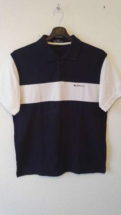 Ben Sherman Mens Polo T Shirt Navy White Ebroidered Logo 100% Cotton Size 3 L