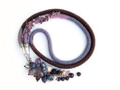 """Bead Crochet Necklace  """"Wild berries"""" Lilac Purple Amethystine  Made to order. $105.00, via Etsy."""