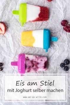 Diese Eis am Stiel Rezepte mit Joghurt gelingen immer. Eis ohne Zucker selber machen #eis #joghurt #eisamstiel #sommer