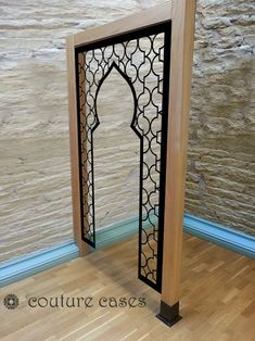 Open arabic minaret design in wood room partition – laser cut screens for architectural and home interiors Wood Partition, Morrocan Decor, Prayer Corner, Motif Art Deco, Islamic Decor, Islamic Art Pattern, Bungalow House Design, Prayer Room, Stained Glass Designs