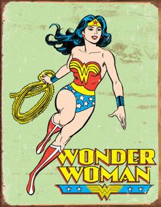 Wonder Woman Vintage Tin Sign Poster - Counted Cross Stitch Chart