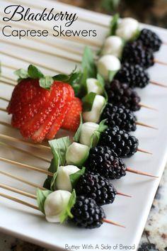 BLACKBERRY CAPRESE SKEWERS: Blackberry ~ Motzzarella ~ Fresh Basil