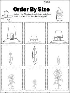 Thanksgiving Order By Size activity. Cut and paste the pictures in order by size. Students can color the pictures first, then cut, order, and paste. Great for fine motor skills. Fall Preschool Activities, Preschool Lessons, Preschool Math, Kindergarten Literacy, Fun Math, Thanksgiving Worksheets, Thanksgiving Preschool, Thanksgiving Games, Pattern Worksheets For Kindergarten