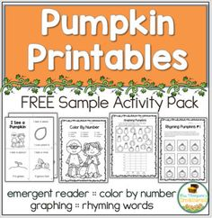 Free Pumpkin Printables Your students will love these 4 free activities with a pumpkin theme! Included are an emergent reader about the pumpkin life cycle a color-by-number page graphing page and cut and paste rhyming activity. Great for students! Kindergarten Freebies, Classroom Freebies, Classroom Ideas, Free Preschool, Preschool Printables, Rhyming Activities, Free Activities, Parts Of A Pumpkin, Pumpkin Life Cycle
