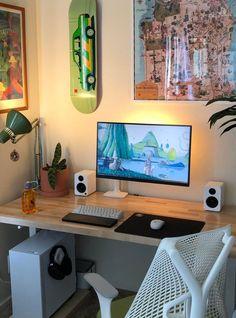 Computer Desk Setup, Gaming Room Setup, Pc Desk, Pc Setup, Bedroom Setup, Room Ideas Bedroom, Otaku Room, Study Room Decor, Home Office Setup