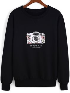 Black Round Neck Camera Print Loose Sweatshirt, 40% Off 1st Order