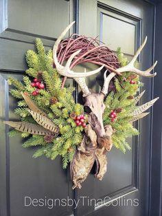 Antler Christmas Tree, Christmas Deer Decorations, Rustic Christmas, Christmas Wreaths, Christmas Crafts, Cabin Christmas, Xmas, Deer Antler Crafts, Antler Wreath