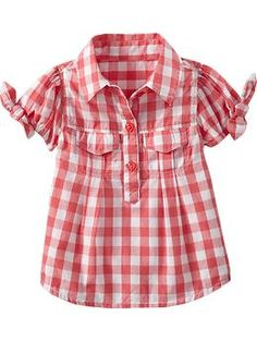 $16.94 regular price Plaid Tie-Sleeve Tops for Baby | Old Navy