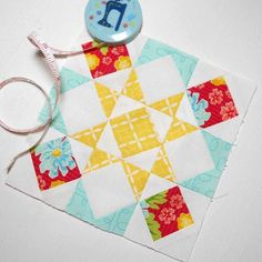 Block 256 - Unity Star.  Today's #splendidsampler block is a traditional patchwork block.  Block design by @vchristenson - fabric is Summerfest by April Rosenthal  @amrosenthal #patchsmithbad2016 #thesplendidsampler #patchworkstar