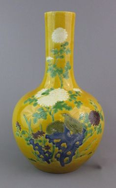 Antique Chinese Yellow Glaze on Biscuit Vase Quails Sancai