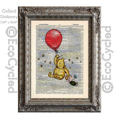 Winnie the Pooh, Piglet and the Red Balloon on Vintage Upcycled Dictionary Page Book Art Print - Adventure!  - EcoCycled