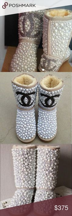 Pearl Boots Snow boots bedazzled in pearls.Prices varies by shoes size . For all inquiries emails bedazzlebyyanni@yahoo.com . CHANEL Shoes Ankle Boots & Booties