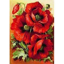 Strass Borduurwerk diamant schilderij kruissteek Rusland rode Bloemen schilderen 3d Diy Schilderijen Mozaïek Patroon woondecoratie(China (Mainland))