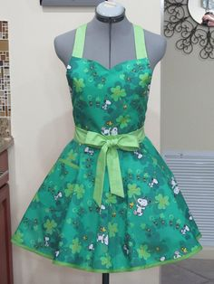 Snoopy and Friends  St. Patrick's Day Apron  Ready to