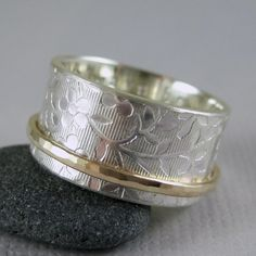 Spinner ring with custom inscription in 10k gold by TwoSilverMoons, $128.00