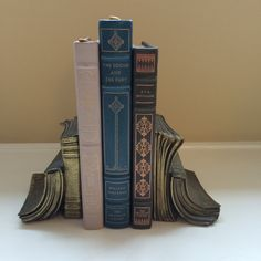 Vintage Library Books Pair of Brass Bookends by TinselandFlamingo