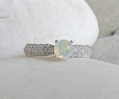 5mm Opal Promise Ring- Prong Engagement Ring- Round Stone Ring- Anniversary Ring- Gemstone Ring- Rings for Her- October Birthstone Ring
