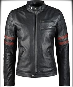 Men's Genuine Lambskin Leather Jacket Slim fit Biker Motorcycle  jacket-401 #Handmade #BasicJacket