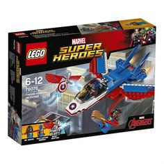 LEGO Super Heroes 76076 Captain America Jet Pursuit With Ms. Marvel for sale online Lego Creator, Capitan America Lego, Legos, Lego Junior, Lego Marvel Super Heroes, Ms Marvel, Marvel Jokes, Marvel Avengers, Captain America Shield