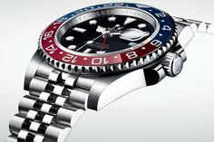 """This year's hero piece from Rolex has just been unveiled - the new GMT Master II in 'Oystersteel' (previously known as 904L steel) with Cerachrom """"Pepsi"""" two colour bezel and, for the first time in the Professional range of Rolexes, on a Jubilee bracelet."""