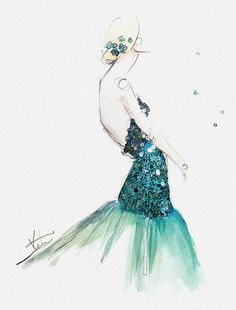 Paper Fashion x NYFW Katie Rodger's exquisite fashion illustrations #katierodgers #fashion #illustration #fashionillustration #art #watercolor