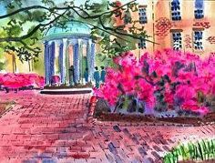 Brenda Behr's painting of the Old Well in Chapel Hill.