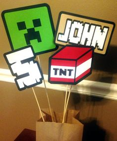 Minecraft Inspired Birthday Centerpiece or by PaperPiecingDreams