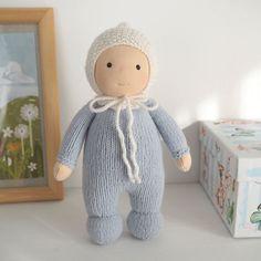 "RESERVED-Waldorf baby doll 8.5"", waldorf doll handmade, cloth baby doll, knitting doll, waldorf toddler toy, organic doll, baby toy"