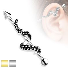 Octopus Tentacle Industrial Barbell Silver or Gold Upper Earing Body Jewelry Piercing Jewelry 14ga