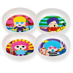 French Bull - Rock Stars Kids Bowl Set - 4 Assorted Rockstars  Kids Bowl Set – 4 Assorted Channel your inner Rock Star and tour with French Bull's kid friendly band The123's. Set includes four unique rockers rockin their favorite instrument.