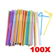 100PCS Food Grade PP Plastic Flexible Ice Tea Bar Party Disposable Drinking Drink Straws Bendable Multicolor PTSP