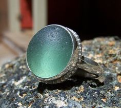 Would love a sea glass ring like this! With something engraved on the band