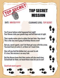 Top secret mission document written in rhymes for a spy party game. Get all the kids excited about their first top secret mission with this awesome mission doc! Birthday Party Games For Kids, Spy Party, Cute Birthday Gift, Secret Agent Games, Secret Agent Party, Party Activities, Indoor Activities, Summer Activities, Family Activities
