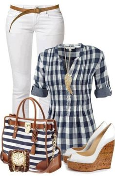 I always like blue and white for spring and summer. I wouldn't use the belt if my shirt is untucked.